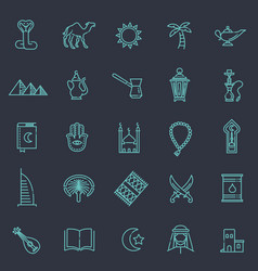 Outline icons set - islam collection vector
