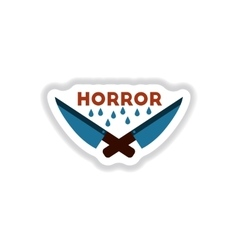 paper sticker on background of knives horror vector image