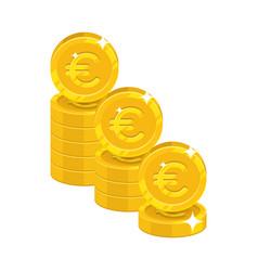 piles gold euro isolated cartoon icon vector image