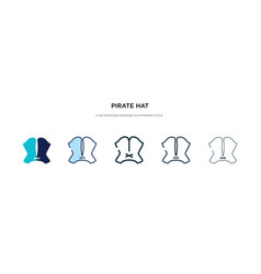 Pirate hat icon in different style two colored vector