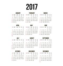 pocket 2017 year calendar vector image