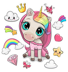 Rainbow unicorn girl and set cute design vector