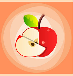 red apple with leaf top view slice vector image