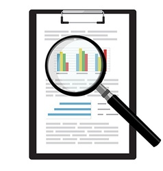 Report with magnifying glass vector