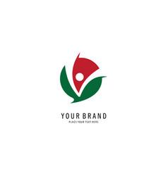 round letter v concept logo vector image