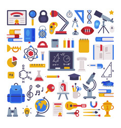 school supplies collection education learning vector image