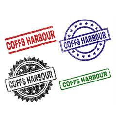 Scratched textured coffs harbour stamp seals vector