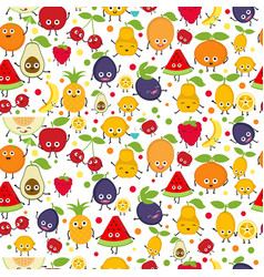 seamless pattern with cute fruits seamless vector image