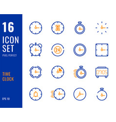 set 16 icons time clock thin line style vector image