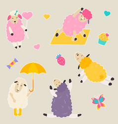 set bright stickers with cute sheep vector image