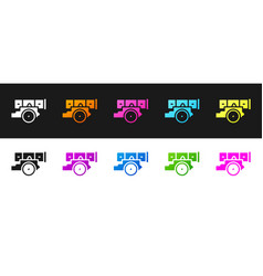 Set cannon icon isolated on black and white vector