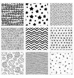 Set hand-drawn pattern vector