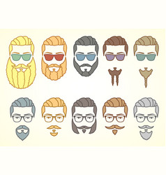 set hipster face with mustaches and curly vector image