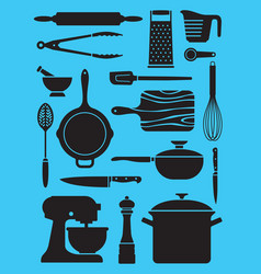 Set of kitchen tools and utensils vector