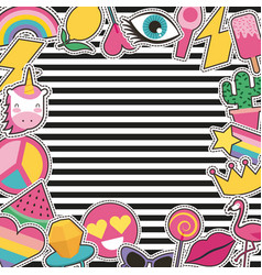 Set of patches or stickers cute cartoon stripes vector