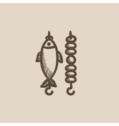 Shish kebab and grilled fish sketch icon vector