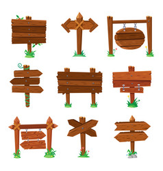 sign boards in green grass wooden plank road vector image