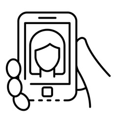 smartphone webinar icon outline style vector image