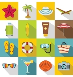 Summer rest icons set flat style vector