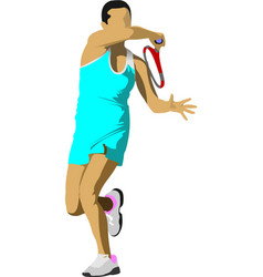 Tennis player colored for designers vector