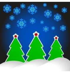 three trees with red stars vector image