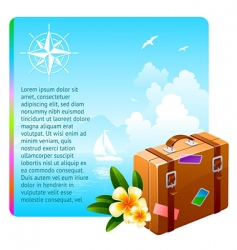 travel suitcase and tropical flowers vector image