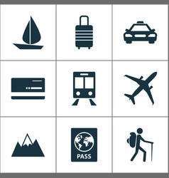 Traveling icons set collection of mount car vector