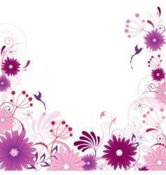violet floral background with ornament vector image vector image