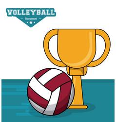 Volleyball sport trophy ball vector
