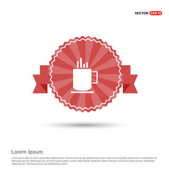 Warm drink icon - red ribbon banner vector