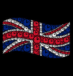 Waving united kingdom flag mosaic of clock icons vector
