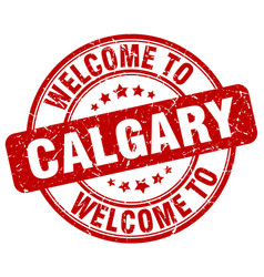 Welcome to calgary red round vintage stamp vector