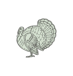 Wild Turkey Side Mono Line vector