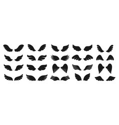 Wing icon black simple set sign winged logo vector