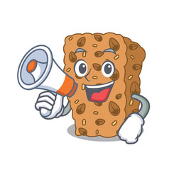 With megaphone granola bar character cartoon vector
