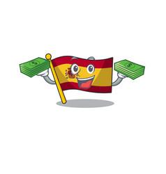 With money bag flag spain isolated in cartoon vector