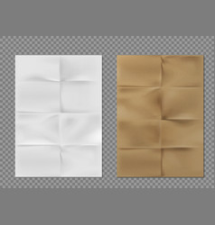 wrinkled paper texture white brown kraft sheets vector image