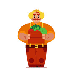 young farmer with ripe vegetables and fruits in vector image
