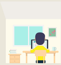 young man work in his room with laptop and cup vector image