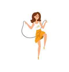 Young woman in casual clothes skipping with jump vector