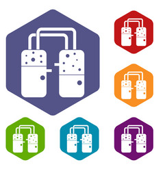 Containers connected with tubes icons set hexagon vector