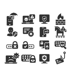 cyber security and threat icons set in bw vector image vector image