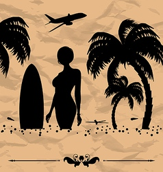 Design elements for summer holiday card vector image