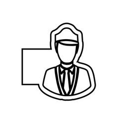 monochrome contour emblem with flight attendant vector image