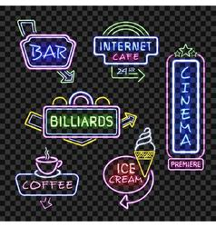 Neon signs on transparent background vector image vector image