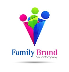 People connect logo communication family template vector image