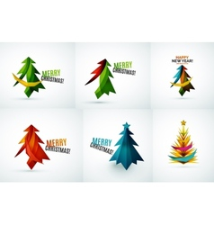 Set of Christmas tree geometric designs vector image vector image