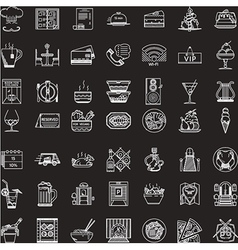 White line icons set for restaurant vector image vector image