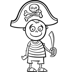 boy in pirate costume coloring page vector image