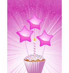 cupcake and candle vector image vector image